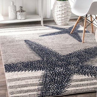nuLOOM Grey Made by Thomas Paul Contemporary Starfishes by the Stripes Area Rug