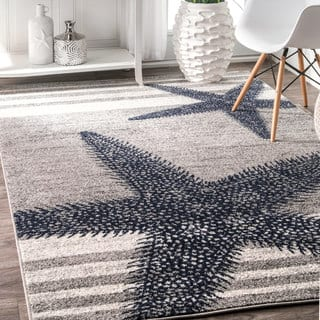 Nuloom Grey Made By Thomas Paul Contemporary Starfishes The Stripes Area Rug
