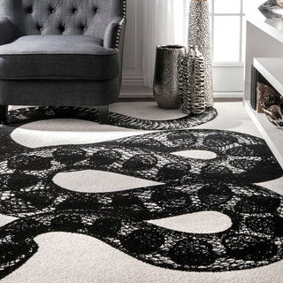 nuLOOM Made by Thomas Paul Slithering Serpent Black and White Rug (7'6 x 9'6)