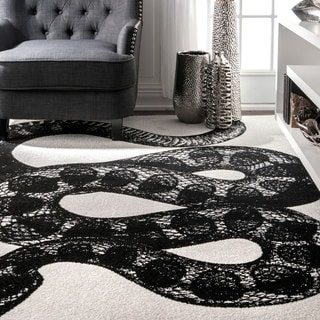 nuLOOM Black and White Made by Thomas Paul Slithering Serpent Area Rug