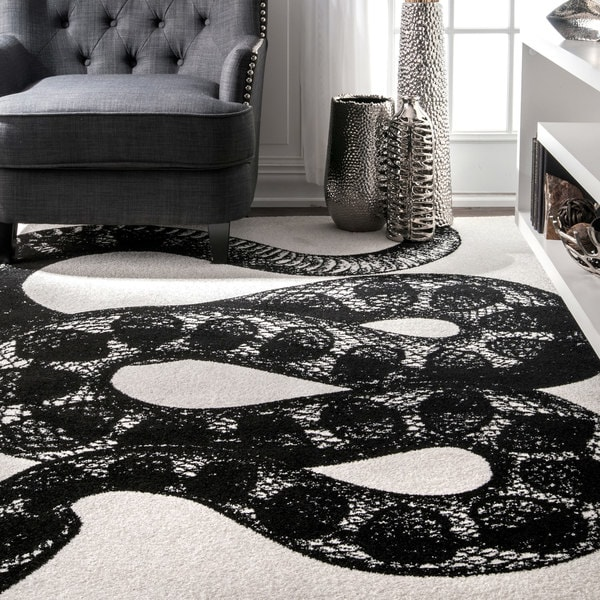 Nuloom Black And White Rug: Shop NuLOOM Made By Thomas Paul Slithering Serpent Black