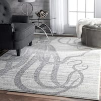 nuLOOM Made by Thomas Paul Faded Seaside Octopus Stripes Grey Rug - 7'6 x 9'6