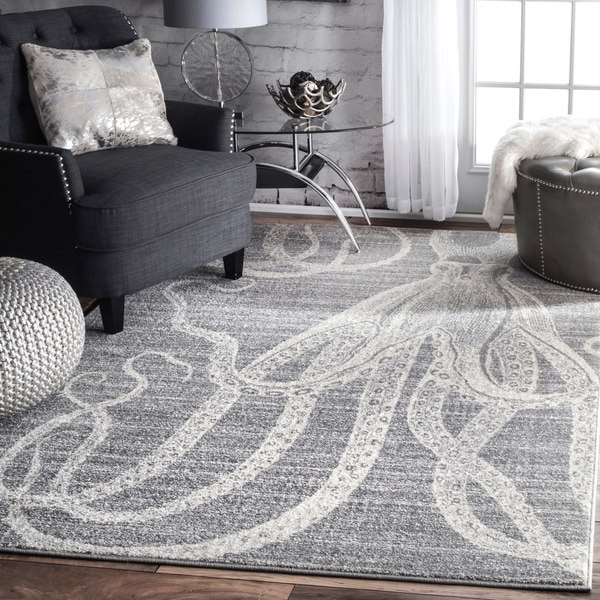 Nu Loom Made By Thomas Paul Faded Seaside Octopus Stripes Grey Rug (7'6 X 9'6) by Nuloom