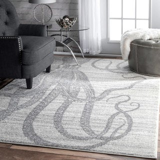 nuLOOM Made by Thomas Paul Faded Seaside Octopus Stripes Silver Rug - 7'6 x 9'6