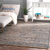 nuLOOM Handmade Flatweave Natural Fiber Jute and Denim Rug - 8'6 x 11'6