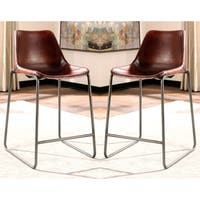 Vintage Design Antique Brown-Red Leather Counter-Height Dining Stools (Set of 2)