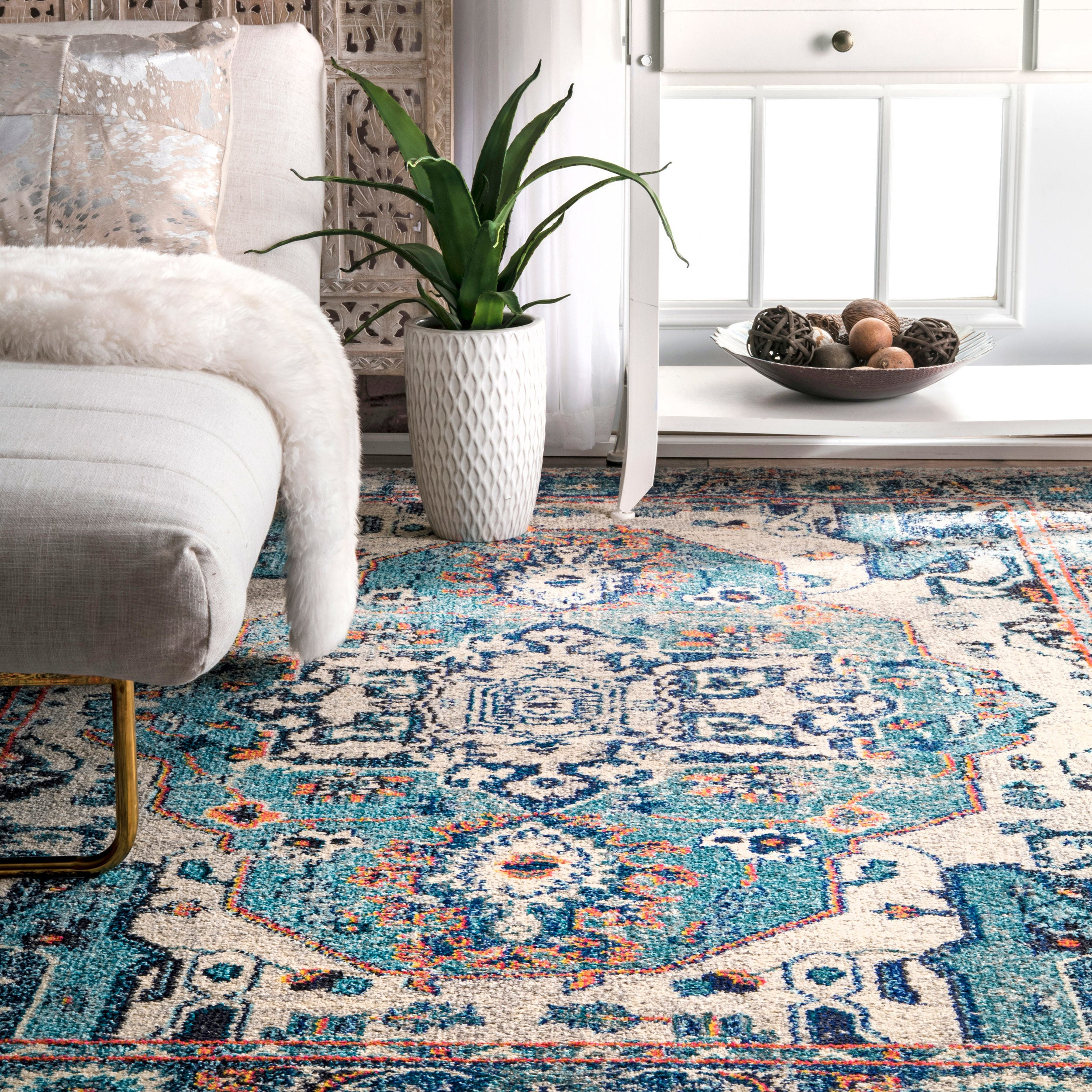 The Curated Nomad Beulah Abstract Blue Border Runner Rug (2'6 x 8')