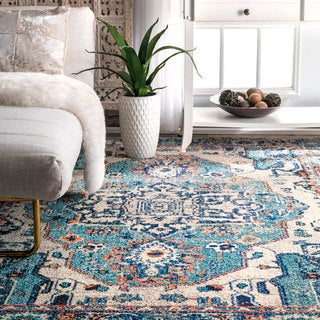 The Curated Nomad Beulah Abstract Blue Border Runner Rug (2'6 x 8') - Thumbnail 0