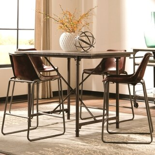 Vintage Designed Laminated Natural Blue-stone Top with Leather Stools Counter Height Dining Set