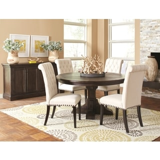French Baroque Designed Round Dining Set with Rolled Button Tufted Chairs and Storage Buffet Server