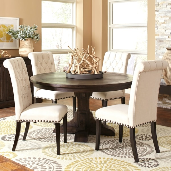 French Baroque Designed Round Dining Set With Rolled Back Button Tufted  Chairs