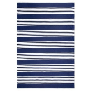 Fab Habitat Indoor Outdoor Floor Mat Rug - Handwoven Made from Recycled Plastic Bottles - Mariona Stripe Blue & White - 3' x 5'