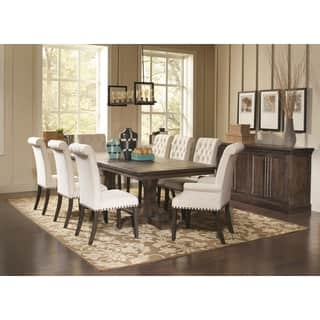 French Baroque Designed Dining Set with Rolled Button Tufted Chairs and  Storage Buffet Server. Size 8 Piece Sets Dining Room Sets For Less   Overstock com
