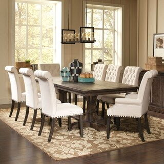 French Baroque Designed Dining Set with Rolled Back Button Tufted Chairs and Nailhead Trim