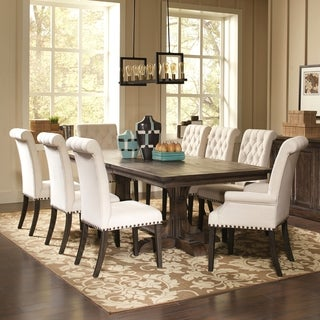 Captivating French Baroque Designed Dining Set With Rolled Back Button Tufted Chairs  And Nailhead Trim (3