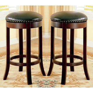 Wilmington Swivel Counter Height Dining Stools with Nailhead Trim (Set of 2)