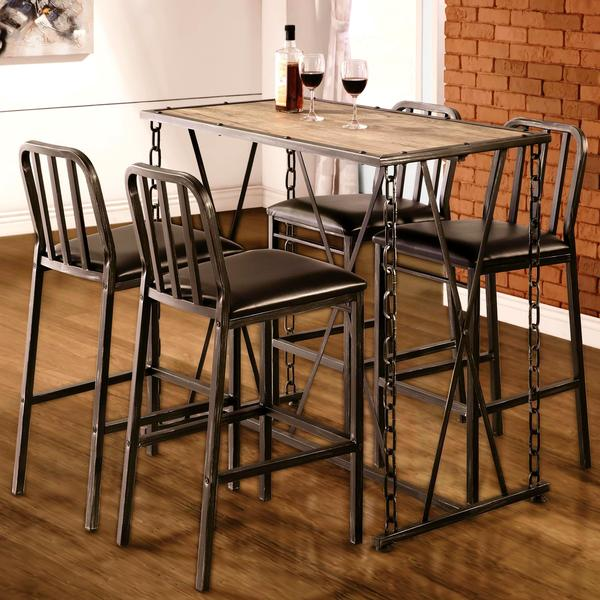 Exceptional Industrial Distressed Finish Chain Link Bistro Bar Pub Table And Stools