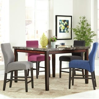 Luxenberg Casual Style 5 Piece Counter Height Dining Set With Marble Top