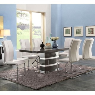 Modern Italian Design Dining Set with White Upholstered Chairs