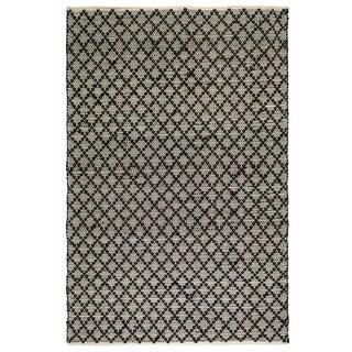 Fab Habitat Recycled Cotton Reclaimed Fibers Flat Weave, Handwoven Floor Mat Area Rug, Ansui Black & Cream 2' X 3' (India)