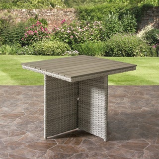 Weather Resistant Blended Grey Weave Wicker Patio Dining Table