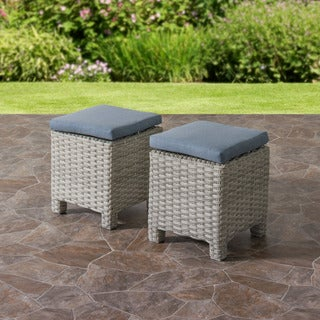 CorLiving Brisbane Weather Resistant Blended Grey Weave Wicker Ottomans, Set of 2