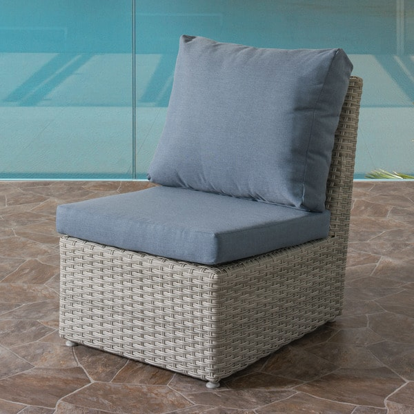 CorLiving Brisbane Blended Grey Weave Wicker Weather Resistant Armless  Patio Chair