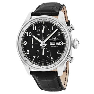 Ball Men's CM3038C-LFJ-BK 'Trainmaster' Black Dial Black Leather Strap Chronograph Pulse meter Swiss Automatic Watch