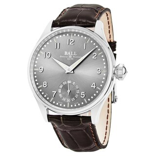 Ball Men's NM3038D-LJ-GY 'Trainmaster Officer' Grey Dial Brown Leather Strap Swiss Automatic Watch