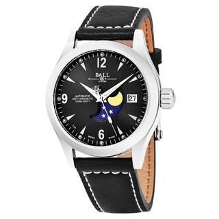 Ball Men's NM2082C-LJ-BK 'Ohio' Black Dial Black Leather Strap Moonphase Swiss Automatic Watch