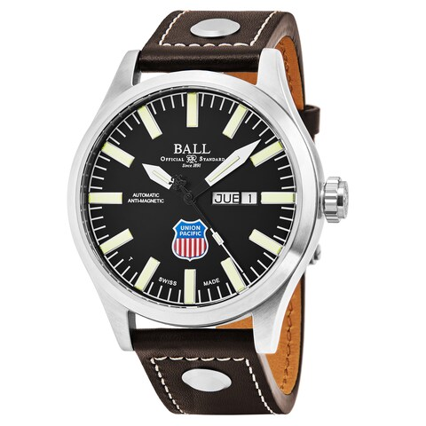 Ball Men's 'Engineer II Big Boy' Black Dial Brown Leather Strap Swiss Automatic Watch