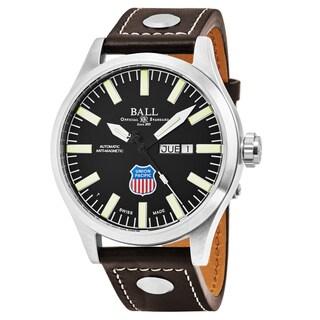 Ball Men's NM1080C-L2-BK 'Engineer II Big Boy' Black Dial Brown Leather Strap Swiss Automatic Watch