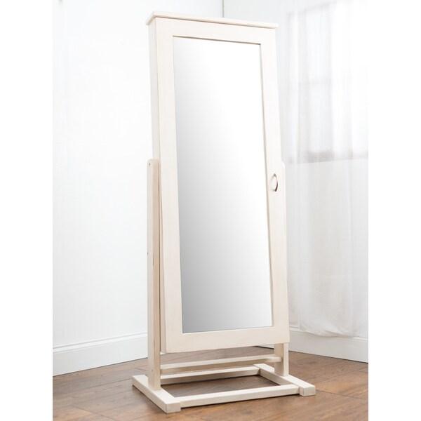 Premium White Cheval Mirror Jewelry Cabinet Armoire Box Stand