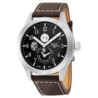 Ball Men's  'Engineer II' Black Dial Brown Leather Strap Limited Edition GMT Swiss Automatic Watch - Black/brown