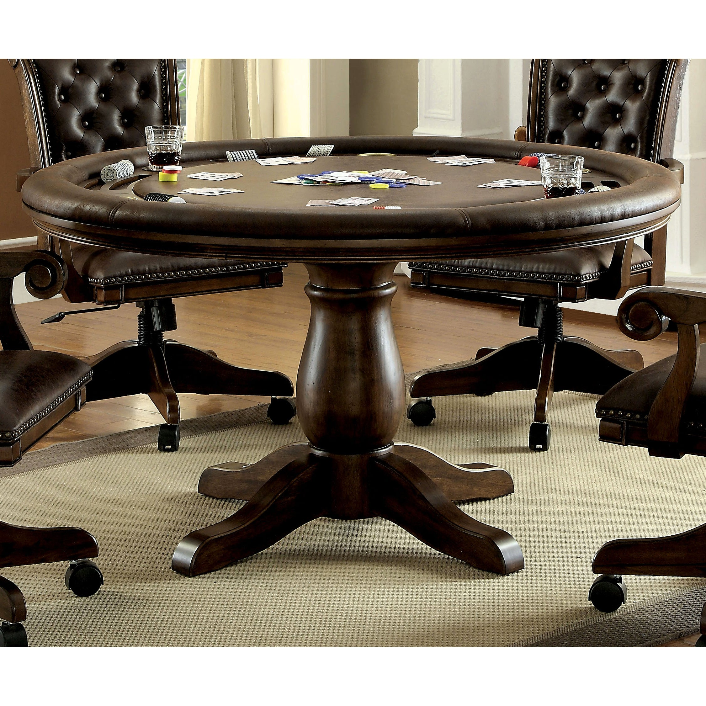 Furniture Of America Genn Traditional Brown Round Game Table On Sale Overstock 16304599