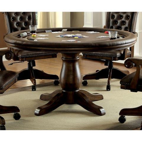Furniture of America Genn Traditional Brown Round Game Table