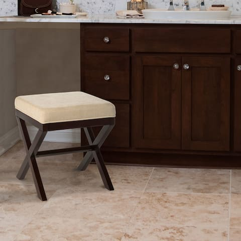 Copper Grove Menzel Wood Vanity Stool in Espresso Finish - Espresso & Avignon Stone