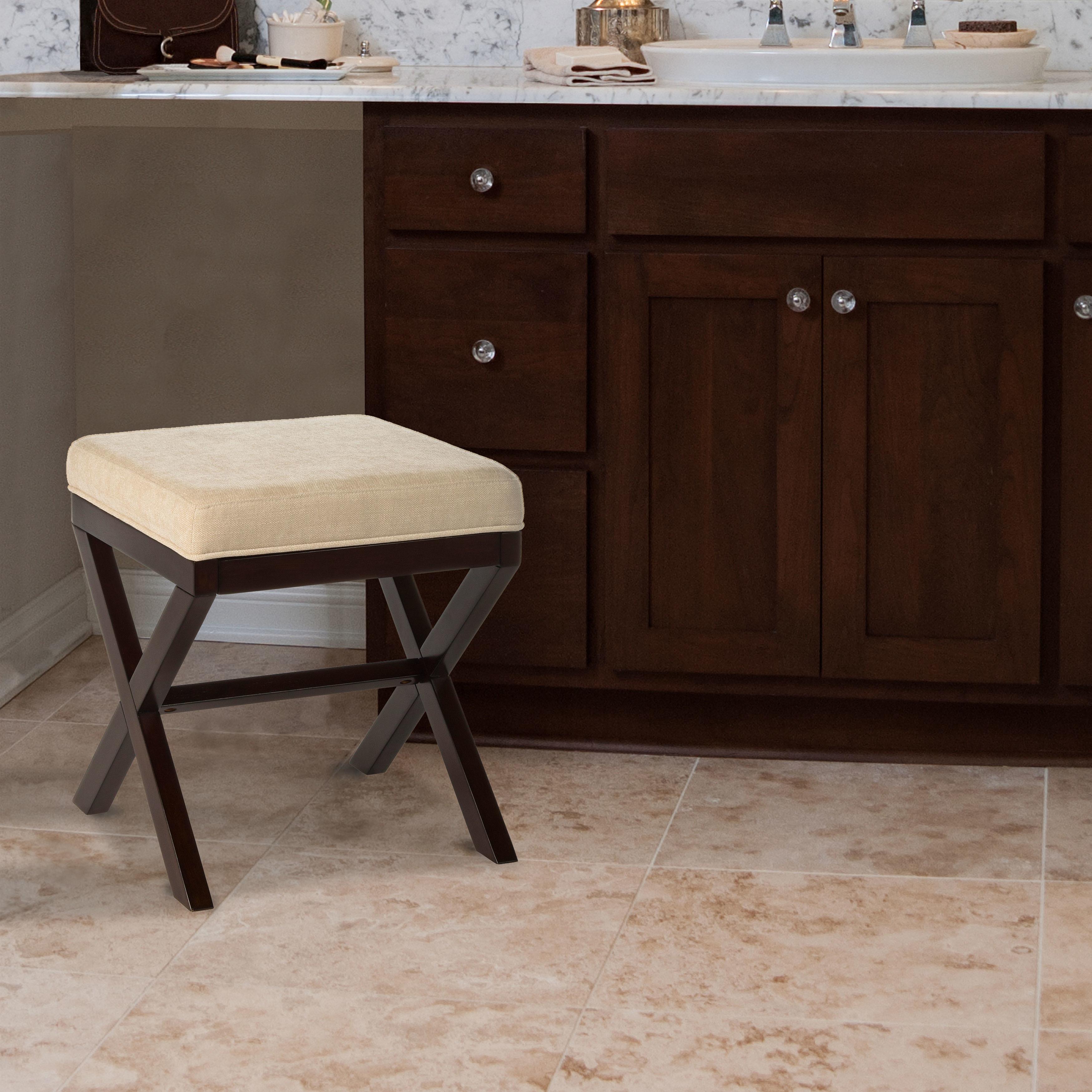 Gracewood Hollow Gikandi Wood Vanity Stool in Espresso Finish