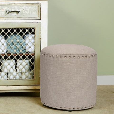Hillsdale Furniture Laura Backless Vanity Stool in Grey Fabric