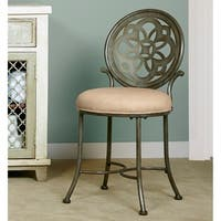Hillsdale Furniture Marsala Vanity Stool in Grey with Rust Hightlights
