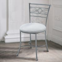Hillsdale Furniture Dutton Vanity Stool in Chrome Powder Coat Finish