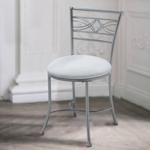Porch & Den Shoue White Upholstered/ Chrome Finish Vanity Stool