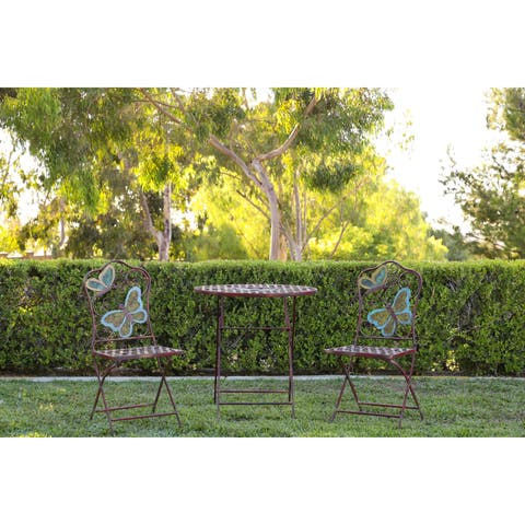 Butterfly Table and Two Chairs Bistro Set