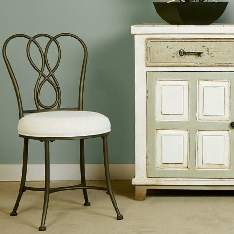 Copper Grove Lagouira Cushioned Vanity Stool with Metal Scrollwork Back