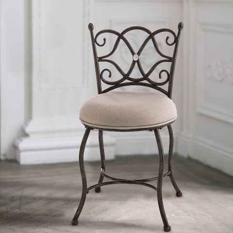 Copper Grove Birtiguisit Cushioned Vanity Stool with Metal Scrollwork Back