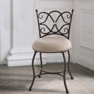 Hillsdale Furniture Brody Vanity Stool in Grey with Rubbed Black Finish
