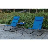 Poundex Lizkona Blue Steel and Fabric Outdoor All-weather Rocking Chair (Set of 2)
