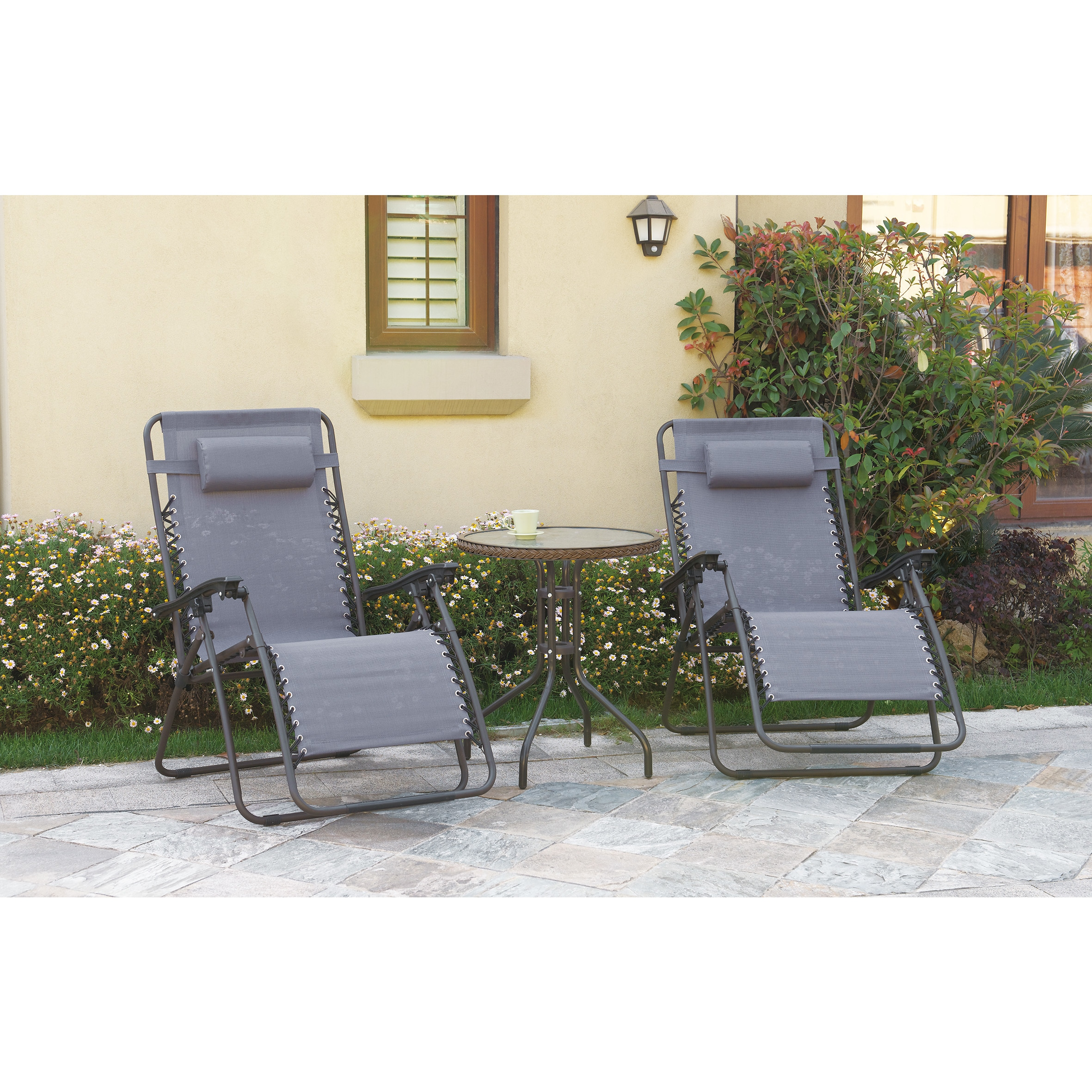 Poundex Lizkona Steel and Fabric All-weather Outdoor Fold...