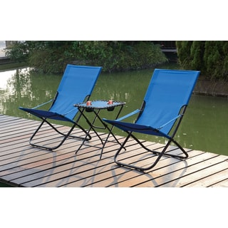 Poundex Lizkina Steel/Fabric All-weather Outdoor Foldable Chairs with Headrest (Set of 2)