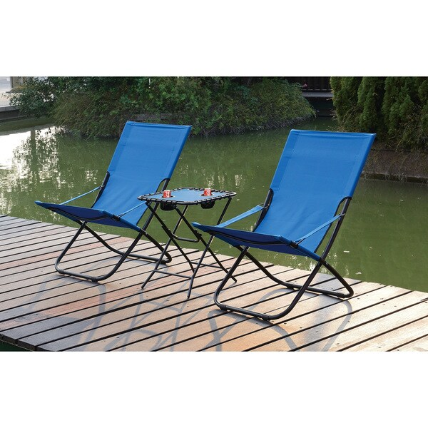 Poundex Lizkina Steel/Fabric All Weather Outdoor Foldable Chairs With  Headrest (Set Of